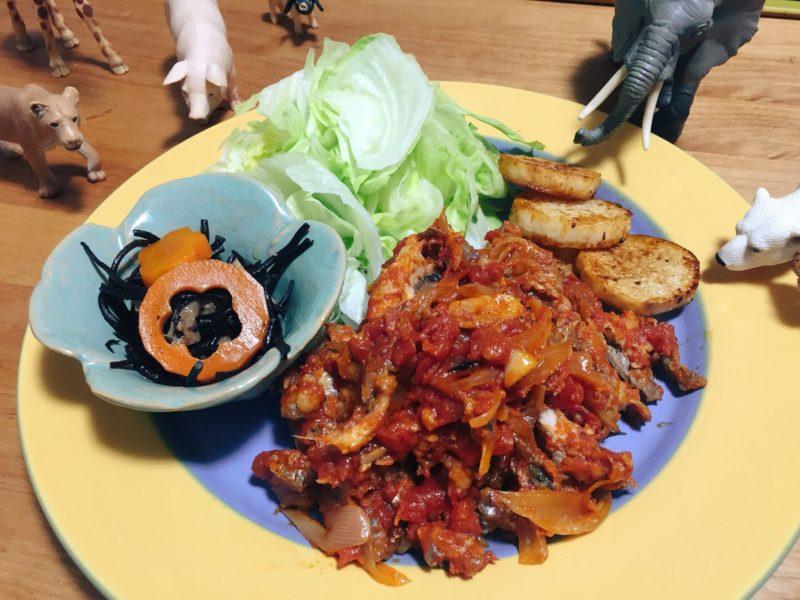 鰯のトマト煮の献立