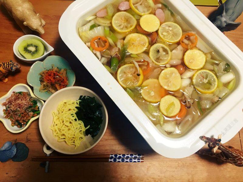 柚子鍋の献立
