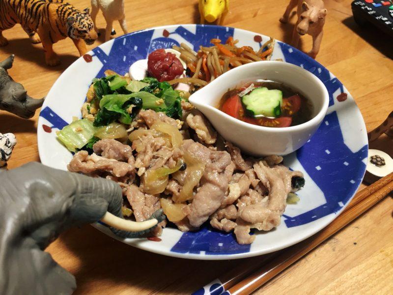 豚の生姜焼きの献立