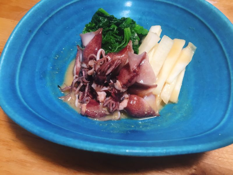 ホタルイカとうどと菜の花の酢味噌和え