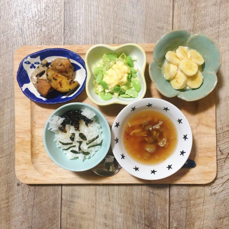 鶏肉と蓮根とさつまいものデリ風照り焼きの子供ご飯
