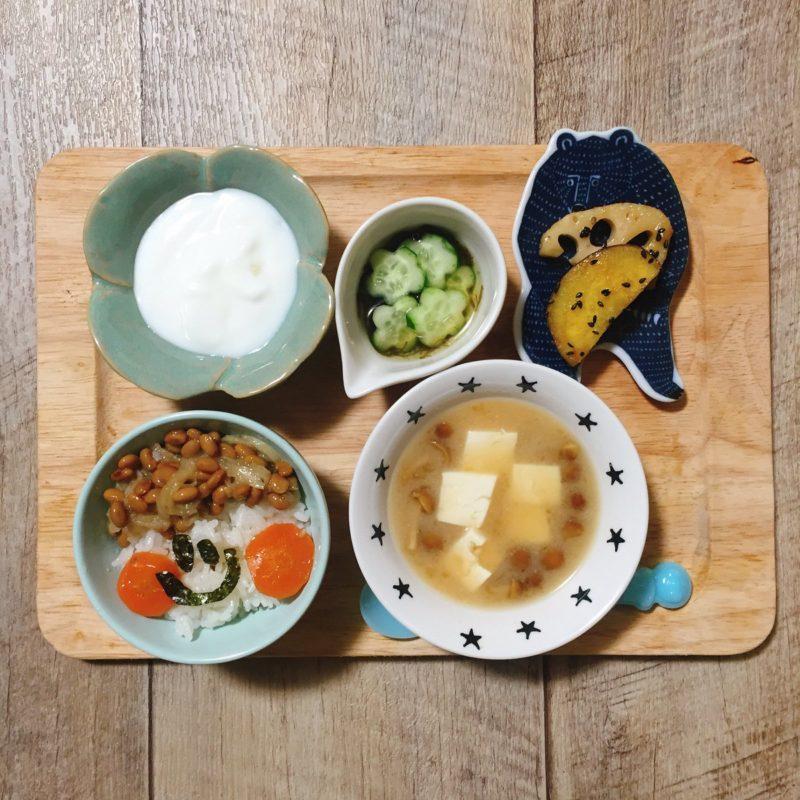 鶏肉と蓮根とさつまいもの甘辛煮の子供ご飯