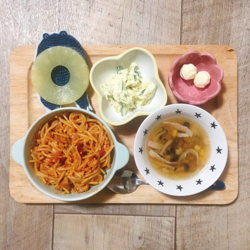 鶏肉のトマト煮パスタの子供ご飯