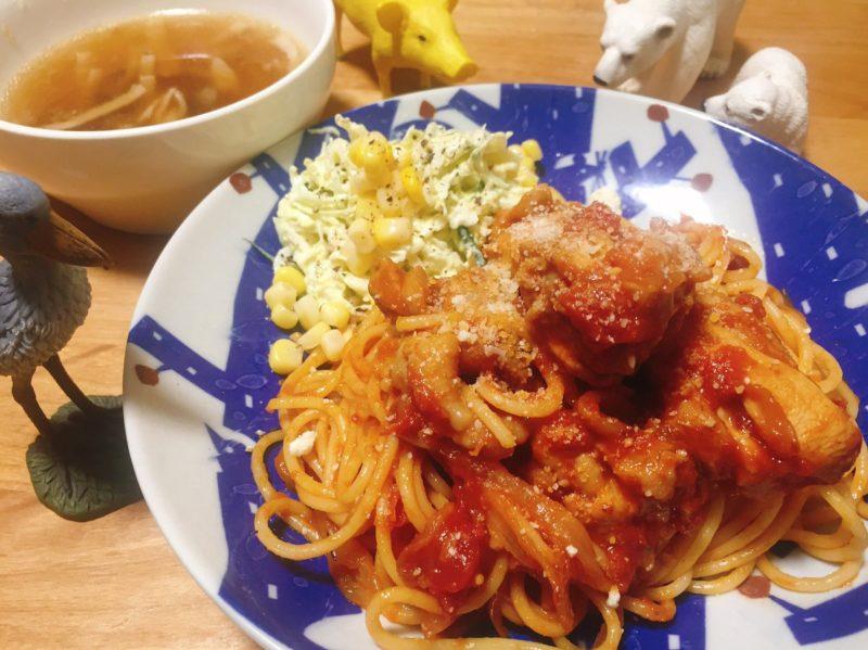 鶏肉のトマト煮パスタの献立