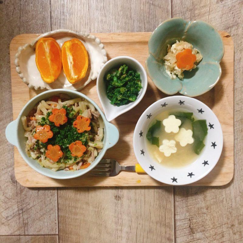 生姜焼きうどんの子供ご飯