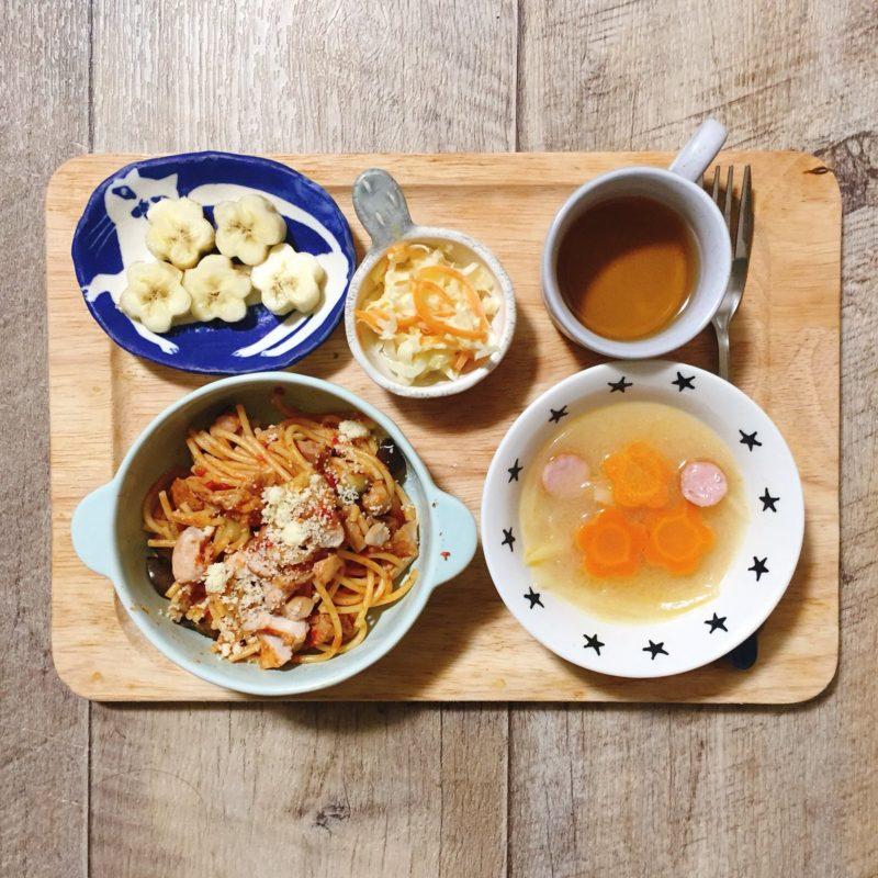 ごろごろ鶏肉のトマトと茄子のパスタの子供ご飯