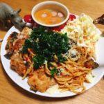 □ごろごろ鶏肉のトマトのパスタ<br>□野菜たっぷりスープの献立