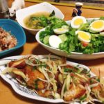 □鯖の竜田揚げ<br>□野菜たっぷりスープ<br>□サラダの献立
