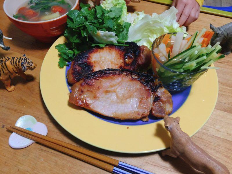 味噌漬け豚肉の献立