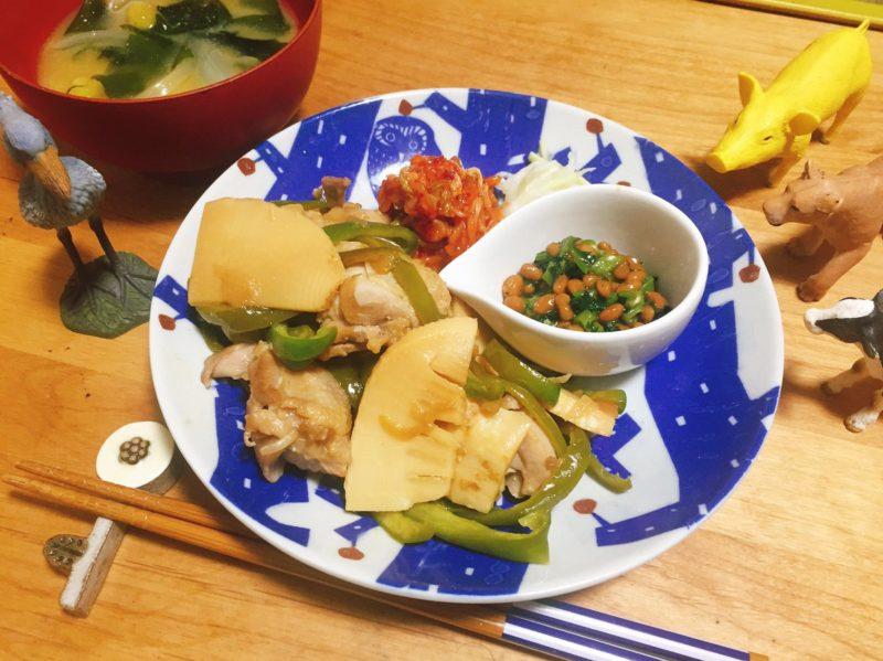 万能オニオンソースで鶏肉と筍炒め