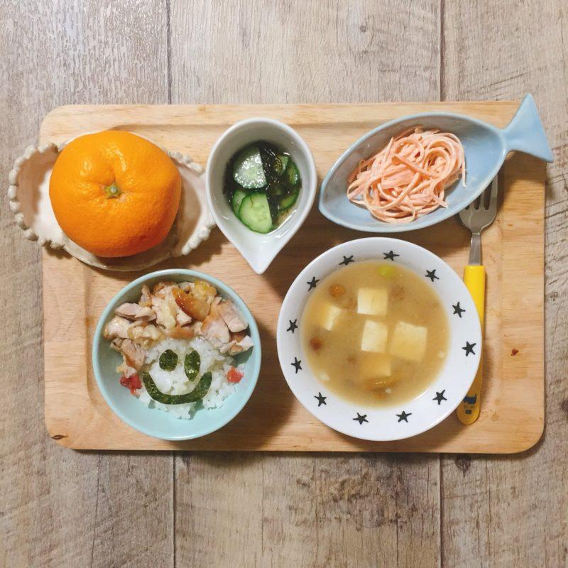 鶏肉のオニオンソースの子供ご飯