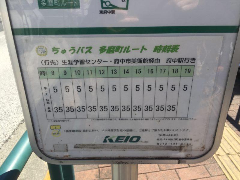 府中の森公園に行くバスの時刻表