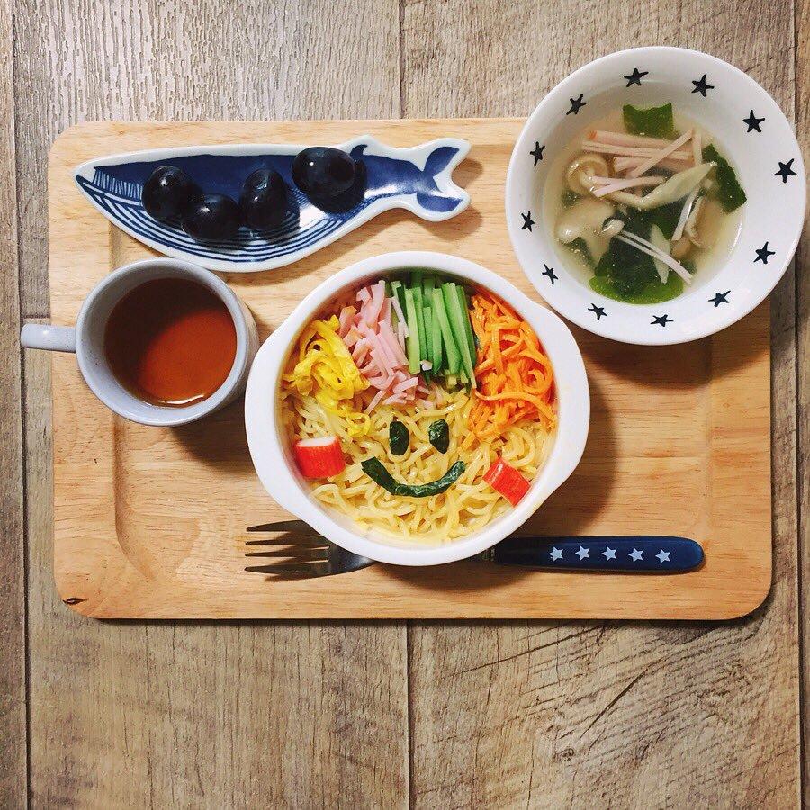 □冷やし中華□中華スープ□デザートの献立