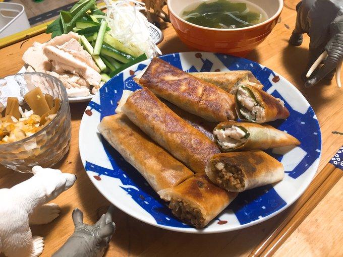 肉味噌+きのこの春巻きとササミ+チーズ+大葉の揚げ春巻き