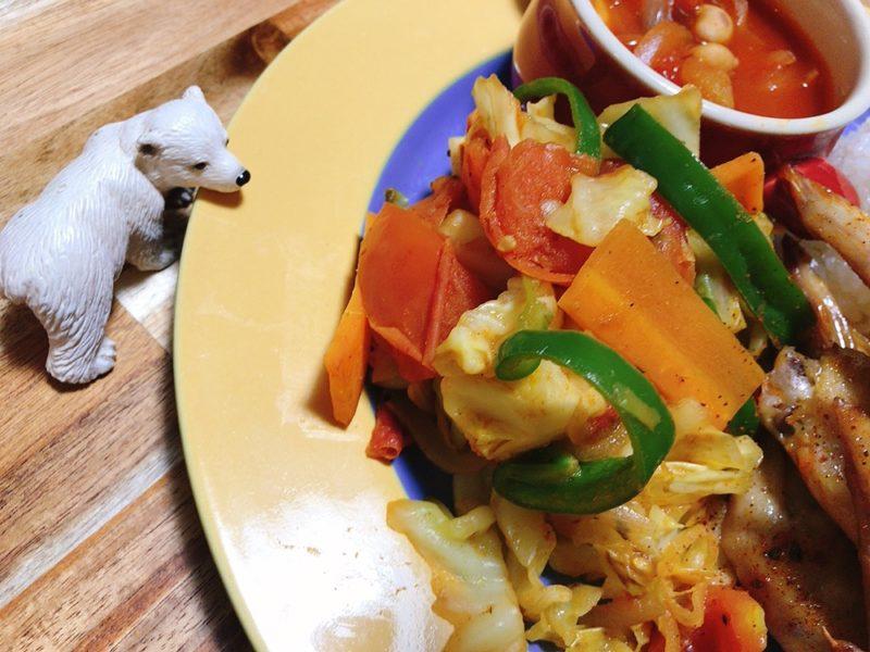 カレー味の野菜炒めのレシピ