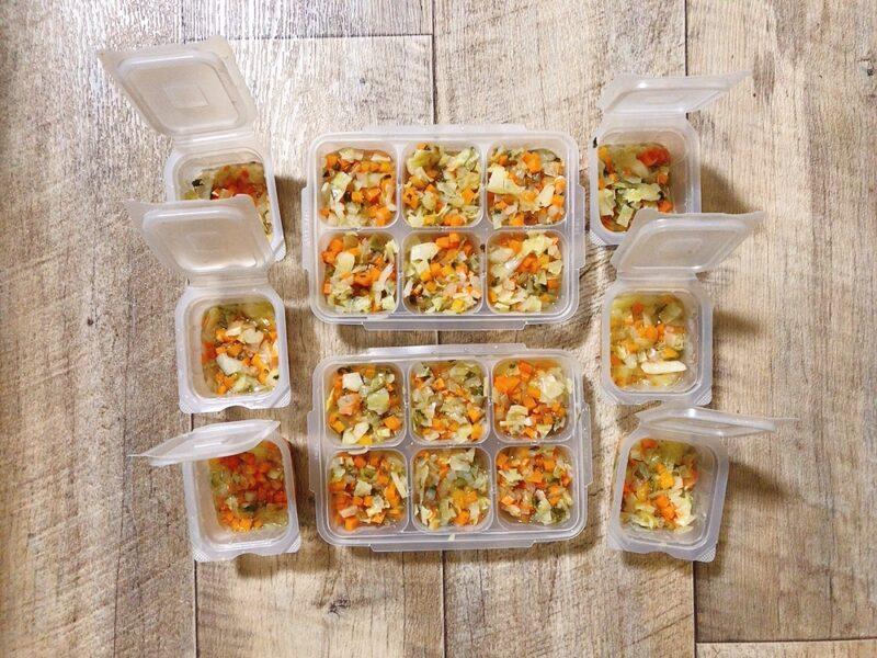 離乳食の野菜ミックスの冷凍方法